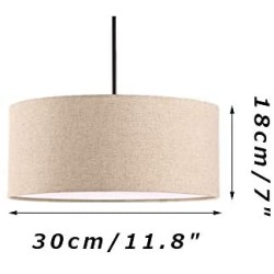 ANYE 15ft Plug-in UL On/Off Dimmer Switch Cord 1-Light Woven Beige Linen Drum Shade Cafe Lights for Dining Room Cafe Restaurant Bulbs Not Included TB0944-4.5M