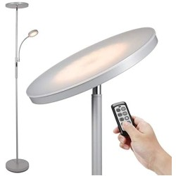Led Floor Lamp - Soarz Torchiere Floor Lamp with Adjustable Reading Lamp,2000lumens Main Light and 400lumens Side Reading Light for Living Room, Bedroom, Office, Work with Remote Control ,Silvery grey