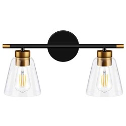 2-Light Vanity Lights Fixtures, Bathroom Lights Wall Mounted, Modern Wall Sconces Lighting, Matte Black Wall Light with Brass Accent Socket, Wall Lamp for Mirror Cabinets, Powder Room, Dressing Table