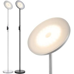 2PCS, 1Silvery Grey+1Black, JOOFO Floor Lamp,30W/2400LM Sky LED Modern Torchiere 3 Color Temperatures Super Bright Floor Lamps-Tall Standing Pole Light with Remote & Touch Control