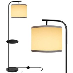 ROTTOGOON Modern Floor Lamp with Tray Table, LED Reading Standing Lamp with White Fabric Shade & 9W LED Bulb, Tall Pole Floor Lamp for Living Room, Bedroom, Study Room, Office - Black