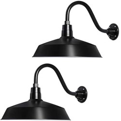17in. Satin Black Outdoor Gooseneck Barn Light Fixture with 14.5 in. Long Extension Arm - Wall Sconce Farmhouse, Vintage, Antique Style - UL Listed - 9W 900lm A19 LED Bulb (5000K Cool White) - 2PCK