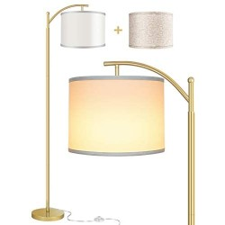Rottogoon Floor Lamp for Living Room, LED Standing Lamp with 2 Lamp Shades Tall Industrial Floor Lamp Reading for Bedroom, Office, Study Room (9W LED Bulb, Beige & White Shades Included) -Gold
