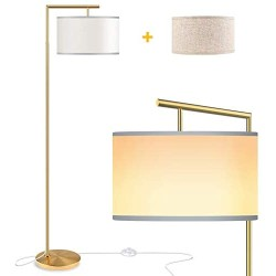 ROTTOGOON Floor Lamp for Living Room, Montage Modern Floor Lamp with 2 Lamp Shades & 9W LED Bulb, Montage Tall Pole Reading Standing Light for Bedroom, Study Room - Gold, Antique Brass