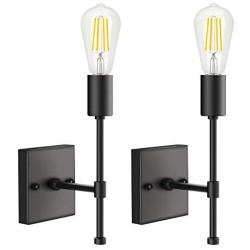 1 Light Wall Sconce, Modern Bathroom Vanity Light Fixture, Indoor Wall Mount Lamps, Farmhouse Black Wall Lights for Bedroom, Living Room, Mirror Cabinet, Kitchen, E26 Base (2-Pack)