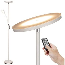Led Floor Lamp - Soarz Torchiere Floor Lamp with Adjustable Reading Lamp,2000lumens Main Light and 400lumens Side Reading Light for Living Room, Bedroom, Office, Working with Remote Control, White