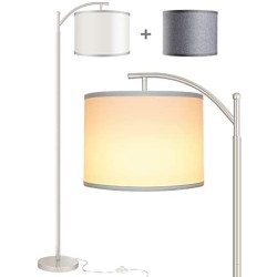 Rottogoon Floor Lamp for Living Room, LED Standing Lamp with 2 Lamp Shades for Bedroom, 9W LED Bulb Included
