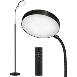 Floor Lamp, Joofo Led Floor Lamp, Remote and Touch Control, 1 Hour Timer Reading Standing Lamp, 4 Color Temperatures with Stepless Dimmer Floor Lamp for Living Room Bedroom Office, Black