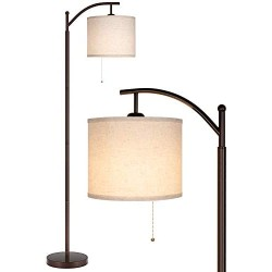 Joofo Floor Lamp, Classic Standing Lamp Reading Standing Light with Hanging Lamp Shade with Led Bulb, Floor Lamp for Living Room Bedrooms, Office, Light Brown Color
