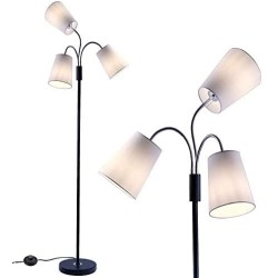 3 Light Adjustable Floor Lamp by Light Accents - Medusa 3 Light Standing Lamp - Multi Head Standing Lamp with 3 Adjustable White Fabric Reading Lamps - Lamps for Living Room (Black)