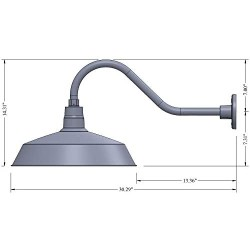 17in. Satin Black Outdoor Gooseneck Barn Light Fixture with 22in. Long Extension Arm - Wall Sconce Farmhouse, Vintage, Antique Style - UL Listed - 9W 900lm A19 LED Bulb (5000K Cool White)