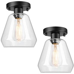 2-Pack Industrial Ceiling Light Semi Flush Mount Clear Glass Shade, Farmhouse Ceiling Light Fixture for Hallway Porch Kitchen Entryway Bedroom Corridor, Close to Ceiling Lights Black, E26 Base