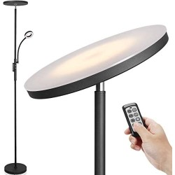 Led Floor Lamp - Soarz Torchiere Floor Lamp with Adjustable Reading Lamp,2000lumens Main Light and 400lumens Side Reading Light for Living Room, Bedroom, Office, Working with Remote Control