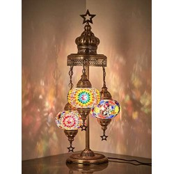 (16 Colors) Demmex 2020 - 3 Big Globes Magnificent Handmade Turkish Moroccan Mosaic Tiffany Table Desk Bedside Lamp Lampshade Night Accent Mood Light for North American Use, 31