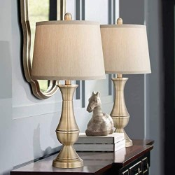 Becky Traditional Table Lamps Set of 2 Antique Brass Metal Beige Drum Shade for Living Room Family Bedroom Bedside Office - Regency Hill