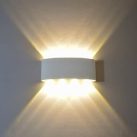 FLYDEER Modern Wall Sconce Lights 8W LED Room Wall Lights Up Down Aluminium Wall Lighting Lamps for Living Room Bedroom Corridor (White-Warm Light)