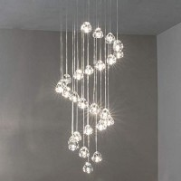 Crystal Chandelier Modern Pendant Light LED Raindrop Ceiling Lamp Crystal Ball Lighting Fixture 26 Lights for Staircase Living Room Hotel Hallway Bedroom Hotel Hallway Foyer Entryway (26 lights-Round)