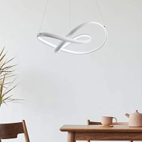 CHYING Modern LED Pendant Light, 44W 3080LM Contemporary Chic 3-Leaves Irregular Ring Chandelier 59 inch Cool White 6000K Adjustable Ceiling Lighting Fixture for Living Room Bedroom