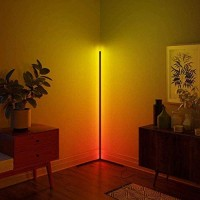Corner Floor Lamp Nordic Decoration Home Floor Lamps for Living Room Night Light Dimming Standing Lamp Bedroom Decor Floor Light, RGB Remote Control Discoloration,Black (Black)