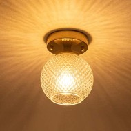 Semi Flush Mount Ceiling Light Fixture, Antique-Diamond Glass Globe Shade Gold Farmhouse Light Fixtures Ceiling for Kitchen Dining Room Bedroom Entryway Hallway Foyer Passway Laundry Room Schoolhouse