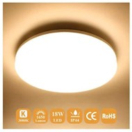 Airand Ceiling Light LED 3000K Flush Mount 18W Ceiling Lights Fixture 9.5 Round LED Ceiling Lamps for Kitchen, Hallway, Bathroom, Stairwell, 1650LM, Waterproof IP44, 80Ra (Warm White)