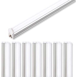 (Pack of 8) Barrina LED T5 Integrated Single Fixture, 4FT, 2200lm, 6500K (Super Bright White), 20W, Utility Shop Light, Ceiling and Under Cabinet Light, Corded Electric with Built-in ON/Off Switchs
