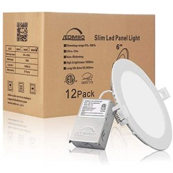 1100lm 5 Years Warranty 6 inch 5000K 12W No-Flicker No-Buzz Dimmable Recessed Lighting, 6 Led recessed Light, Led Ceiling Light, Led Can Lights, with Junction Box, 12 Pack ETL & Energy Star