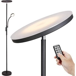 Led Floor Lamp - Soarz Torchiere Floor Lamp with Adjustable Reading Lamp,2000lumens Main Light and 400lumens Side Reading Light for Living Room, Bedroom, Office, Work with Remote Control, Matte Black