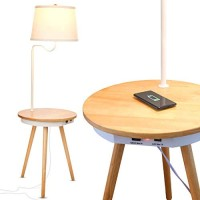 Brightech Owen - End Table with Lamp for Living Rooms, Wireless Charging Station & USB Ports Built in - Wood Nightstand / Side Table & LED Reading Light Attached for Bedrooms - Mid Century Modern