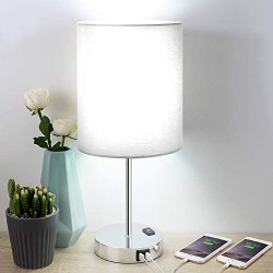 Touch Control Table Lamp, 3 Way Dimmable Bedside Desk Lamps with 2 USB Charging Ports & AC Outlet, Grey Fabric Shade Nightstand Lamp for Bedroom Living Room, Daylight White LED Bulb Included (Silver)