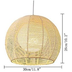ANYE 15ft Transparent Plug-in UL On/Off Dimmer Switch Cord Retro Style E26 Lamp Holder Beige Rattan Hollow Double Lampshade Pendant Light for Dining Room Cafe Restaurant Bulbs Not Included