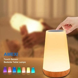 AMEXI Table lamp, Touch Sensor Bedside lamp + dimmable Warm White Light, can be Used in Childrens Bedroom Living Room Office Corridor Basement (Beige)