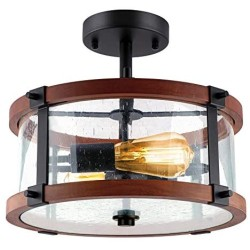 ROTTOGOON Semi Flush Mount Ceiling Light, 2-Light Rustic Vintage Wood Ceiling Light Fixture with Clear Seeded Glass Shade for Entryway, Hallway, Foyer, Dining Room, Living Room