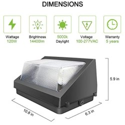 120W LED Wall Pack Light with Dusk-to-Dawn Photocell, 14400LM 840W HPS/HID Equivalent 5000K LED Wall Pack Commercial and Industrial Outdoor Wall Pack Lights for Parking Lots, Warehouses, Factories