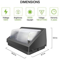 100W Led Wall Pack Lights with Dusk-to-Dawn Photocell, 12000LM 5000K(100-277V) Daylight Commercial Security Wall Pack Lighting, IP65 Waterproof Outdoor Lighting Fixture for Parking Lots, Warehouses