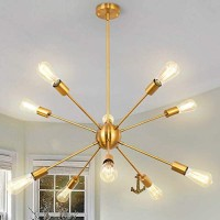Modern 8 Lights Sputnik Chandeliers Semi Flush Mount Ceiling Light Fixture Mid Century Ceiling Pendant Lighting for Living Room Dining Room Bedroom Kitchen (Gold 10-Light)