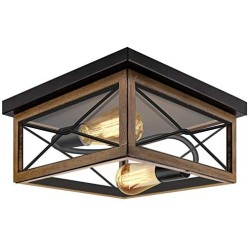 ROTTOGOON Flush Mount Ceiling Light, 2-Light Rustic Ceiling Light Fixture with Clear Tempered Glass Shade for Entryway, Hallway, Foyer, Dining Room, Living Room, Wood Grain Color and Black Finish