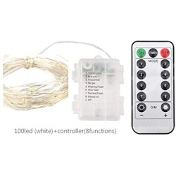 100 LED Battery String Lights With 8 Modes Remote Controller Decoration for Living room Bedroom Indoor Outdoor Wedding Party Christmas Tree New Year Garden,3AA Battery Opearted (White with Controller)