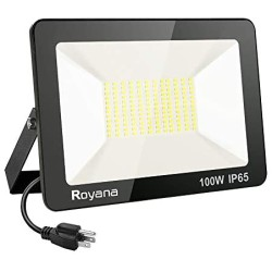 100W LED Flood Light Outdoor with Plug,IP65 Waterproof LED Work Lights,6000K 10000LM Super Bright Security Light,Daylight White Portable Floodlight,Spotlight for Yard Garden Court Lawn