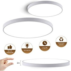 15.75in LED Flush Mount Ceiling Fixture - Round 30W (200W Equivalent) LED Ceiling Light Fixture,2000lm,6500K Bright White