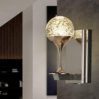 Indoor Wall Lights Fixtures Modern Wall Sconce with Switch LED Golden Wall Lamp with Bubble Glass for Bedroom Living Room Hallway Home Room Decor Not Dimmable