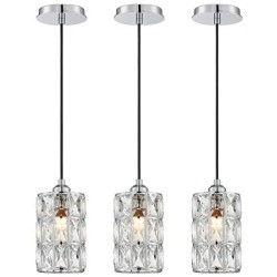 1 Light Crystal Pendant Lighting (Set of 3) with Chrome Finish, Modern Style Ceiling Light Fixture with Polyhedral Crystal Shade for Foyer Dining Room Family Room