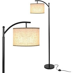 Haian Classic Standing Modern Floor Lamp with Arc Lamp Shade for Living Room,Bedroom,Tall Mid Century Farmhouse Reading Floor Light Equipped with Foot Switch and Stable Metal Base,LED Bulb Included …
