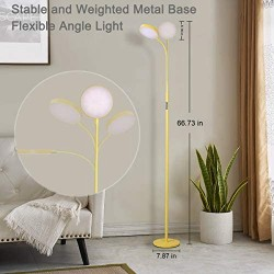 Floor Lamp, Joofo Led Floor Lamp, Remote and Touch Control, 1 Hour Timer Reading Standing Lamp, 4 Color Temperatures with Stepless Dimmer Floor Lamp for Living Room Bedroom Office, Yellow