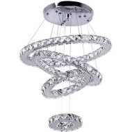 Dixun Modern Crystal Chandeliers Rings Adjustable Stainless Steel LED Pendant Lights (5.9/9.8/13.7/17.7 Inches)for Living Room Bedroom(Warm White)