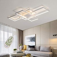 LED Modern Ceiling Light Flush Mount Square Fixture Living Room Lamp Dimmable with Remote Control Acrylic-Shade White Chandelier Pendant Lighting for Dining Room Bedroom Bathroom Kitchen Restroom