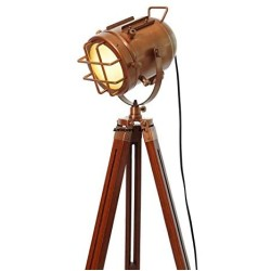 1975S Antique Floor Lamp for Living Room Bedroom, Vintage Spotlight Reading Lamp with Wooden Metal Legs,Nautical Searchlight Floor Lamp for Office, Cinema,