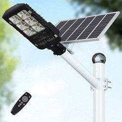 150W Motion Sensor Solar Street Lights Outdoor Lamp, Dusk to Dawn Wall Mount Security Light with Remote Control, 432 LED, Waterproof, for Street, Road, Yard and Pathway