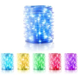 100 LED Rope Lights 33ft 16 Colors Waterproof with Remote, USB Powered Changing with 4 Lighting Modes, Decoration for Indoor Outdoor Bedroom Wall Curtain Ceiling Wedding Halloween Christmas