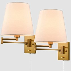 Beige Wall Sconces Set of Two Plug-in Wall Lamp Swing Arm Wall Lights with Plug-in Cord Modern Wall Lamp Lighting